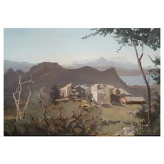 Oil Landscape Painting on Canvas French Village Mountain Painting Signed Jonathan Zutter