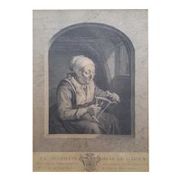 1755 Engraving Etching Portrait, 18th Century French Etching, Johan Georg Wille