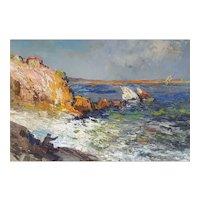 French Vintage Coastal Landscape Oil Painting, Noel Canepa Circa 1950
