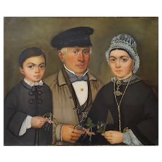Oil Portrait Painting, Oil on Canvas Painting, 19th Century French Family Portrait