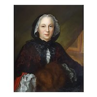 18th Century French Painting Portrait of a Lady, Circa 1745