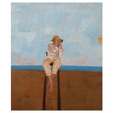 Modern Figurative Painting, Original Contemporary Art Painting. Spanish Artist Dolors Rusiñol