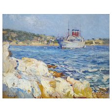 Oil Painting Landscape, French Seascape Painting, Olynthe Madrigali  (1887-1950)