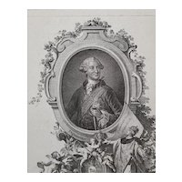 18th Century Engraving Portrait, Original German Etching, Johann Esaias Nilson Circa 1765