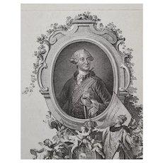 18th Century Engraving Portrait, Original German Etching, Johann Esaias Nilson Circa 1765