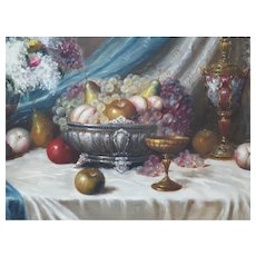 Béla Balogh (1909-1980), Still Life Oil on Canvas Painting Circa 1950