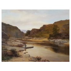 19th Century River Painting, French Landscape Oil Painting, Louis Peyron (1841-1910)