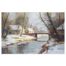 Kees Terlouw (1890-1948), Winter Landscape Painting, Original Vintage Oil