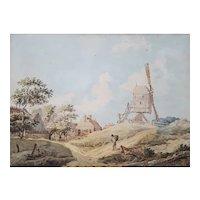 18th Century Landscape Watercolor Painting, Dutch School