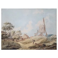 18th Century Landscape Watercolor Painting, Dutch School
