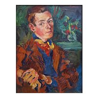 Oil Painting Male Portrait,  Vintage British Art - Signed Bradley 1939