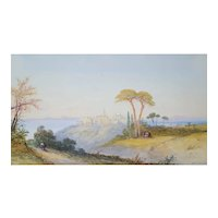 Edwin St. John (active 1870-1910), Orientalist Landscape Watercolor Painting 19th Century