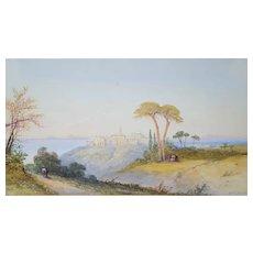 Edwin St. John (active 1870-1910), Orientalist Landscape Watercolor Painting 19th Century