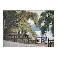 Oil Painting, Impressionist Genre Scene, French Landscape Circa 1890