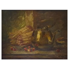 Still Life Painting, 19th Century Oil on Canvas Painting, Amédée Langlois (1853-1925)
