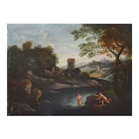 17th Century Oil on Canvas Landscape Painting, Gaspard Dughet