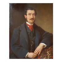 Original 1863 Painting, Oil on Canvas Male Portrait,  Franz Sterrer (1818-1901)