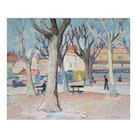 Gisèle Ferrandier (1909-2000), French Village Landscape Oil Painting, Circa 1940
