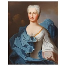 Charles Baziray (h.1690-1757), Portrait of the Countess of Flers - 1734