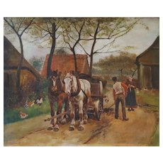 Eugène Péchaubès (1890-1967), Unframed Oil on Canvas Painting, French Farm Scene , 1910
