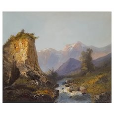 Mountain Landscape Painting, 19th Century French Oil on Canvas Painting, Circa 1880