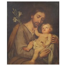 18th Century French Religious Oil on Canvas Painting, Saint Joseph and Baby Jesus