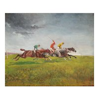 Horse Race Oil Painting, Original French Vintage Painting, 1964