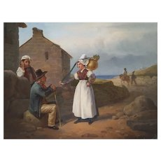 Oil Canvas Scene Painting, 19th Century French Painting, Hippolyte Bellangé