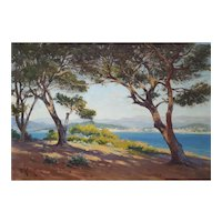 1937 French Riviera Painting, Original Oil on Canvas Painting, Oscar Mascré (1865-1943)