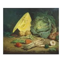 1870 Still Life Painting, French Oil on Canvas Painting,  Giovanni Calvini (1840-1898)