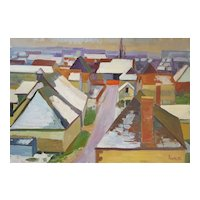 1950s Vintage Painting, Abstract Canvas Oil, French Village View, Paul Rigoulet (1924-2019)