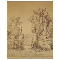 19th Century Ink Drawing Landscape Painting, Jacques Alfred Brielman (1830-1892)