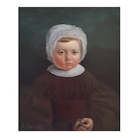 1836 French Portrait of a Child, Oil on  Canvas Painting, Adolphe Gagey (1809-1880)