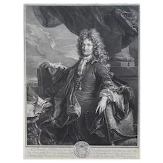 17th Century Original Engraving, Portrait Charles d'Hozier after Rigaud, Gérard Ederlinck (1640-1707)