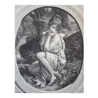 19th Century Engraving Allegorical Scene, 1804 Female Figure Etching, Pierre Audouin (1768–1822)