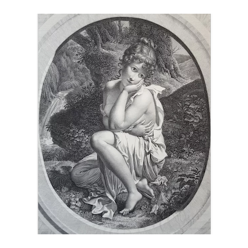 19th Century Engraving Allegorical Scene, 1804 Female Figure Etching, Pierre Audouin (1768–1822)