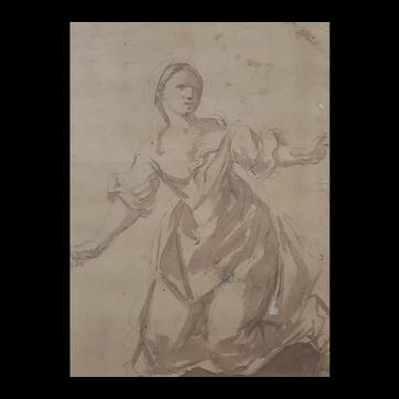 Original Woman Portrait Drawing, 17th Century Ink Drawing, Italian School
