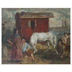 Bohemian Scene, Oil Canvas Painting Circa 1920, Camille Liausu