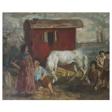 Camille Liausu (1894-1975),  Bohemian Scene Oil on Canvas Painting Circa 1920