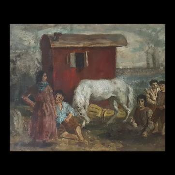 Camille Liausu (1894-1975),  Bohemian Scene Oil on Canvas Painting Circa 1920