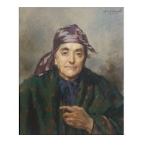 Abel Boye (1864-1934), Portrait of a Ederly Woman, 1902 Pastel Painting