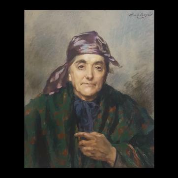 Abel Boye (1864-1934), Portrait of a Ederly Woman, 1902 Pastel Painting