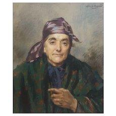 Portrait of a Ederly Woman, 1902 Pastel Painting, Abel Boye