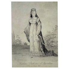 Rare Original Engraving,  Madame Royal Etching Portrait,  Circa 1820