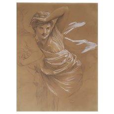 19th Century Woman in Movement Drawing, Henri Picou (attrib.) Circa 1870