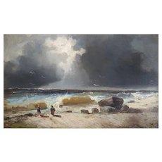 Émile Godchaux , 19th Century Landscape, Oil on Canvas Coastal Painting