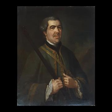 1758 Painting Portrait of a Hunter, Georges de Roose (1701-1765)