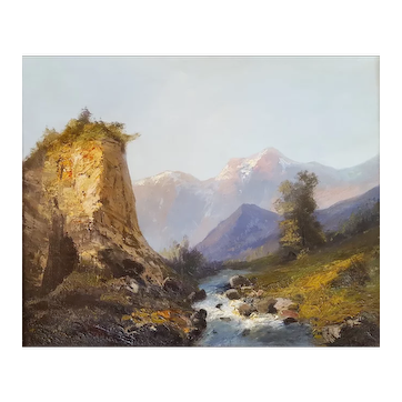 Oil Painting Landscape - Mountain Painting Attributed to Émile Godchaux (1860-1938)