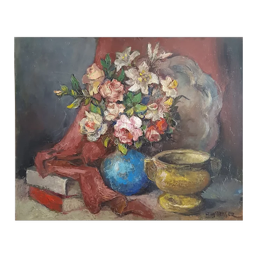 Still Life whit Flowers, Vintage Oil Painting, Alexis Hinsberger (1907-1996)