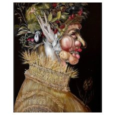 Vintage Oil Allegorical Painting,  Giuseppe Arcimboldo  Summer Painting, 20th Century French Copy